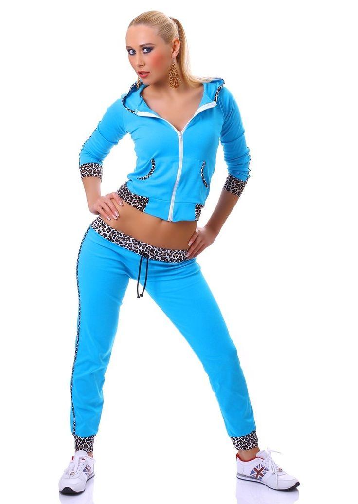 TUTA donna FITNESS moda palestra pantaloni + felpa LEOPARDATA nera azzurra rosa | eBay