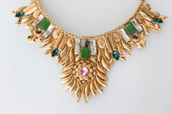 $263 HAUTEEDIT.COM - Exquisite 18 Kt Gold Plated Brass Swarovski Necklace Collector's Piece Valliyan by Nitya Arora