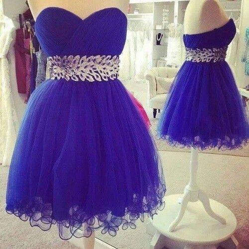 Free Shipping Short Royal Blue Open Back Tulle Ball Gown Homecoming Dresses prom party Cocktail graduation Dresses 2014 $128.89