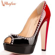 BC Luxury Punk Pleather Peep Toe Rivets Sexy Chunky High Heels Pumps Woman Shoes size 5-14