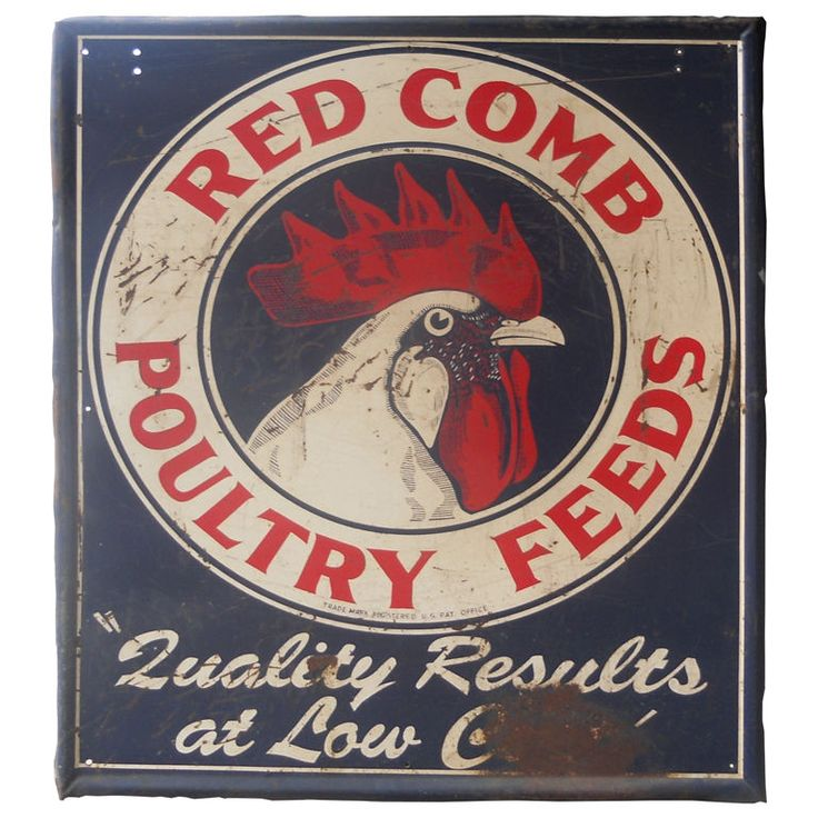 1stdibs | Circa 1950's Vintage metal sign Red Comb Poultry Feeds