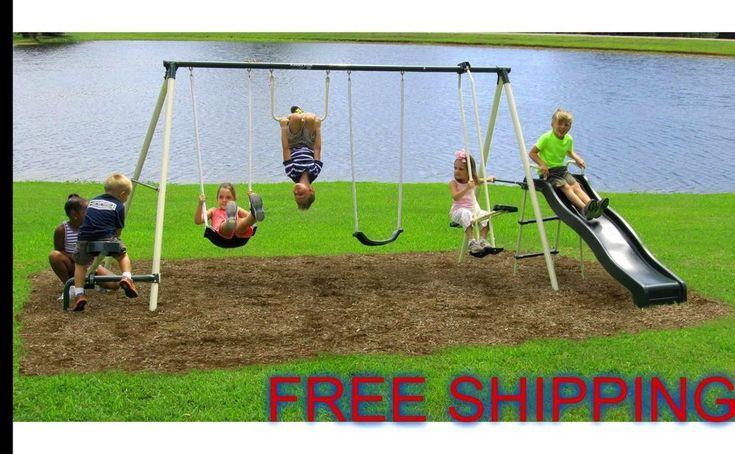 Swing Set Playground Backyard 6 Station Metal Playset Slide Kids Outdoor Play #FlexibleFlyer