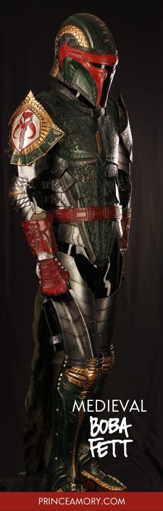 Next in the Medieval Spin-offs series is Medieval Boba Fett. This full suit of fantasy armor is made entirely in leather. As always, re-imagining an iconic character in a new theme presents its challenges.