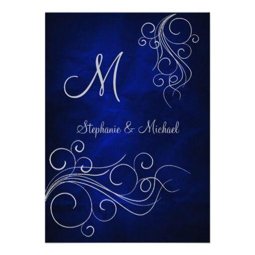 20 best royal blue wedding invitations images on pinterest royal elegant blue silver monogram wedding invitation stopboris Gallery