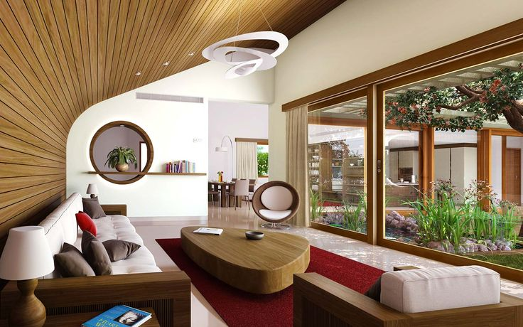 Totalenvironment real estate builders project, Meadow dance, view of earth sheltered villas living room in Rajendranagar, Hyderabad.