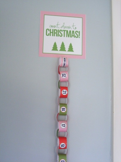 "In a house that adores countdown chains, this ""Count Down to Christmas"" printable is awesome!  Love that it has the numbers on it so we don't have to count loops every few days to remember if we're on track!"