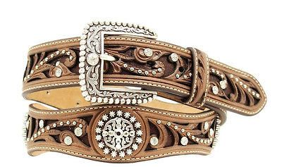 Ariat Womens Western Scallop Rhinestone Brown Leather Belt Clothing, Shoes & Jewelry - Women - women's belts - http://amzn.to/2kwF6LI