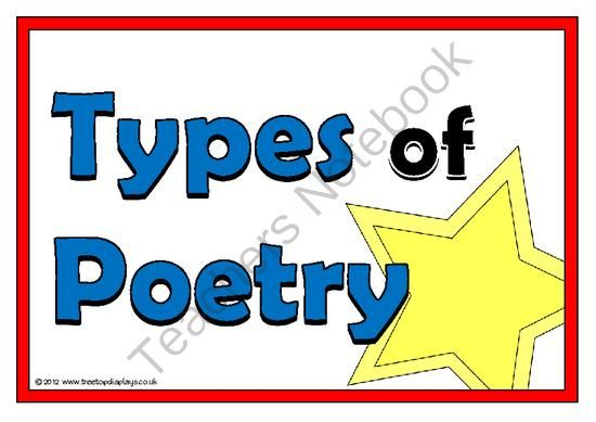 Types of Poetry from Treetop Displays on TeachersNotebook.com -  (13 pages)  - A set of 13 A4 posters showing a range of different types of poetry. Each poster gives an example of the poem. Includes acrostic poems, haikus, imagery poems, narrative poems and limericks.