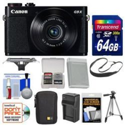 Price Compare Canon PowerShot G9 X Wi-Fi Digital Camera (Black) with 64GB Card  Case  Battery & Charger  Tripod  Sling Strap  Kit For Sale