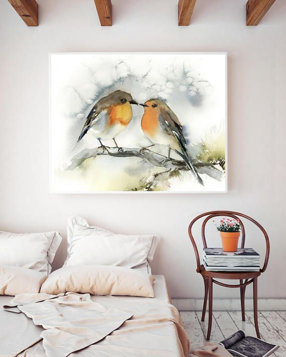 Impression D Art De Couples D Oiseaux Art De Peinture D Aquarelle