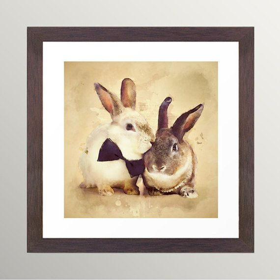 HOLIDAY SALE 20% OFF Bunnies Are In Love Rabbit by BekareCreative