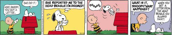 Peanuts Comic Strip, October 10, 2016 on GoComics.com