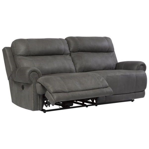 Ashley Austere 2 Seat Faux Leather Reclining Power Sofa (3.350 BRL) ? liked on Polyvore featuring home furniture sofas grey grey reclining sofa ...  sc 1 st  Pinterest & Best 25+ Grey reclining sofa ideas on Pinterest | Comfy sectional ... islam-shia.org