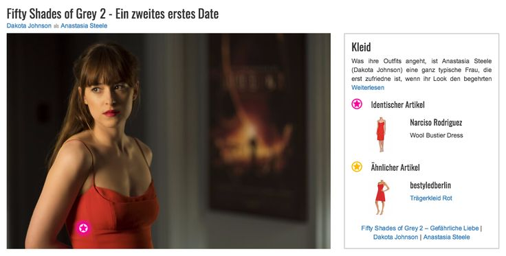 """Was ihre Outfits angeht, ist Anastasia Steele (Dakota Johnson) eine ganz typische Frau, die erst zufriedne ist, wenn ihr Look den begehrten """"WOW-Effekt"""" hat. Diesen erreicht sie nahezu spielerisch leicht mit einem roten Kleid von Narciso Rodriguez, dessen figurbetonte Passform den Kurven der jungen Journalistin schmeichelt. Aber auch der Farbton und die hauchdünnen Spaghettiträger tragen ihren Teil dazu bei, dass dieser Style bei Unternehmer Christian Grey (Jamie Dornan) mit Sicherheit für…"""