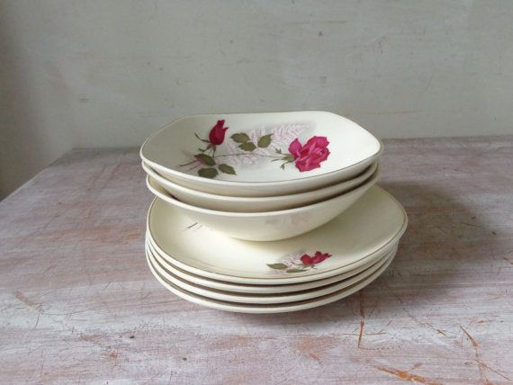 RESERVED for S 3/3 - Vintage Collection of Johnson of Australia China with Roses - Wedding Décor & 21 best Plate Collection images on Pinterest | Dishes Dinner plates ...