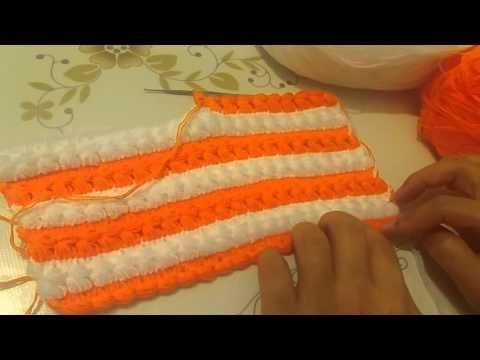Anlatımlı iki renkli tığ işi lif yapılışı - YouTube