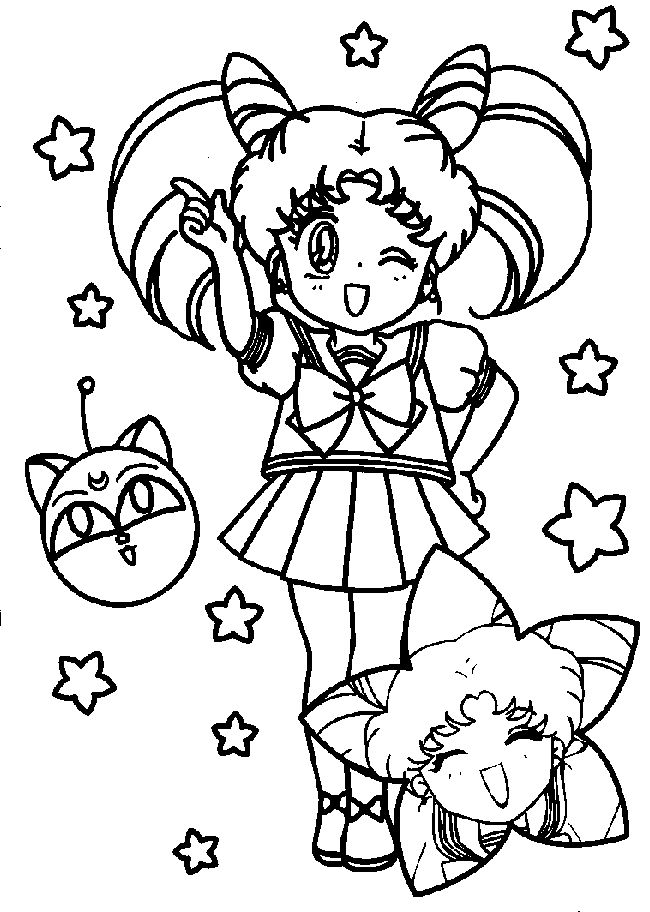 chibi sailor moon coloring pages Coloring4free - Coloring4Free.com | 912x650