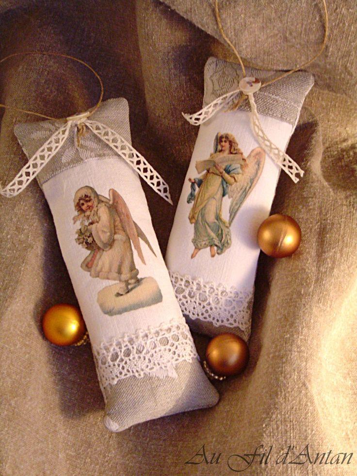 Décoration de Noël : lot deux coussinets images victoriennes anges : Accessoires de maison par aufildantan