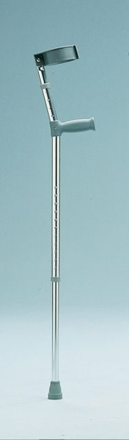 Kruk elleboog dubbel verstelbaar gesloten manchet  De Elleboogkrukken zijn voorzien van een standaard greep. De loopkruk en de polssteun zijn afzonderlijk in hoogte te verstellen. De Elleboogkrukken zijn voorzien van een gesloten manchet. Worden per paar geleverd.  EUR 29.95  Meer informatie