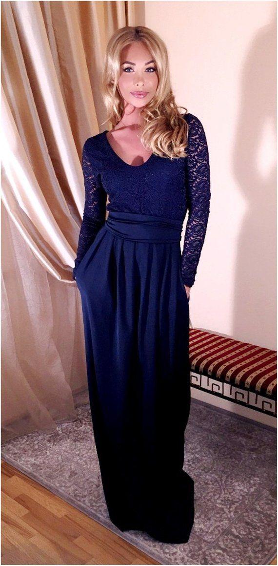 79c8f0d89a4 Navy Blue Top Lace Maxi Dress/ Round Or V Neck V Back Long Sleeves Pockets  Sash