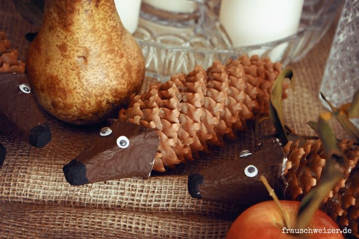 Herbstbastellei mit Kindern: ein Tannenzapfen Igel!