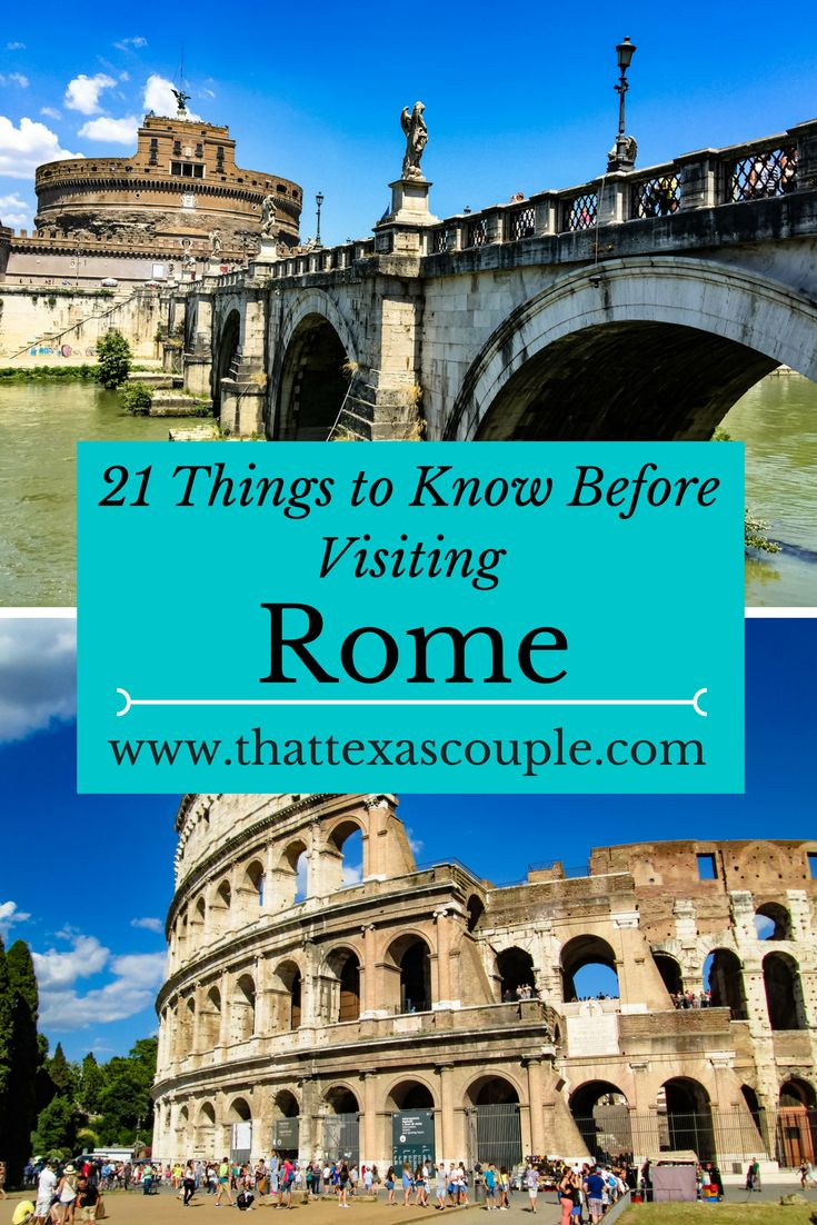 Planning a trip to Rome soon?  Be sure you have read our list of 21 Things You Need to Know Before Visiting Rome before you go.  This complete list will let you in on all the tips you need to know before going, like why you shouldn't order a cappuccino after 11.  #rome #triptorome #visitrome #romevacation #italy #guidetorome via @https://www.pinterest.com/thattexascouple