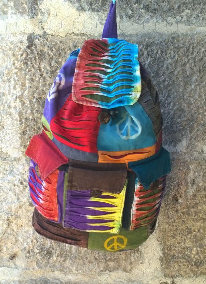 KARGO BİZDEN Bohem Sırt Çantası Patch Up Peace Sırt çantası , Batik Çanta, Keten Çanta, Barış Çanta , Nepal Çanta Zet.com'da 59 TL