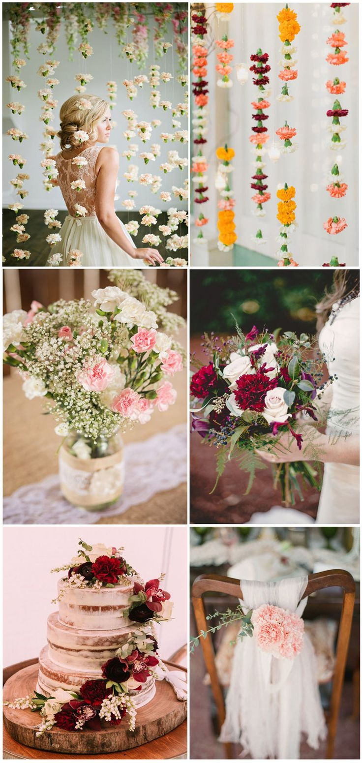 Wedding Flowers » Carnations » Top 10 Flowers Themed Wedding for Outdoor Ceremony » ❤️ See more: http://www.weddinginclude.com/2017/06/flowers-themed-wedding-for-outdoor-ceremony/