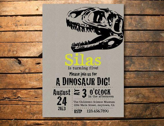 Dino Dig Dinosaur T Rex Birthday Party Printable Invitation