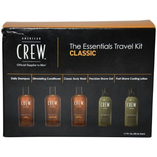 American Crew The Essentials Travel Kit, Classic by AMERICAN CREW. $6.70. Classic Body Wash 1.7 oz: Superior cleansing with a classic fragrance. Precision Shave Gel 1.7 oz: Non-foaming formula for normal to fine beards. Post-Shave Cooling Lotion 1.7 oz: Moisturizing shave relief. Stimulating Conditioner1.7 oz: For soft, manageable hair. Daily Shampoo 1.7 oz: For normal to oily hair and scalp. Start your day with the stimulating Classic American Crew Essentials T...