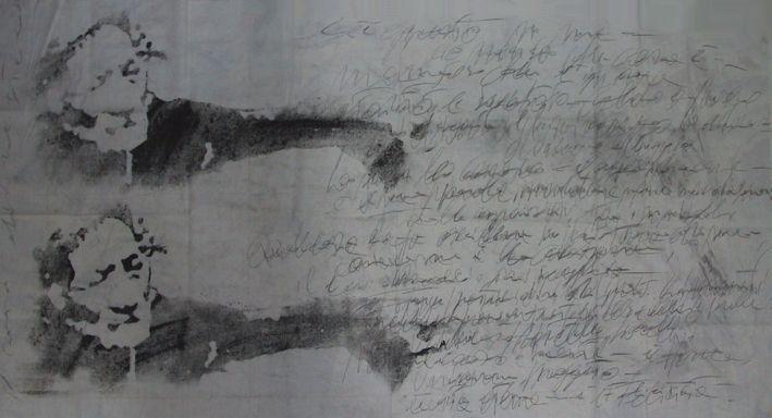 """autore: Francesca Scammacca - """"C'è questo in me"""" - acrilici, grafite e carboncino su tela - cm 164x85,5 - 2001"""