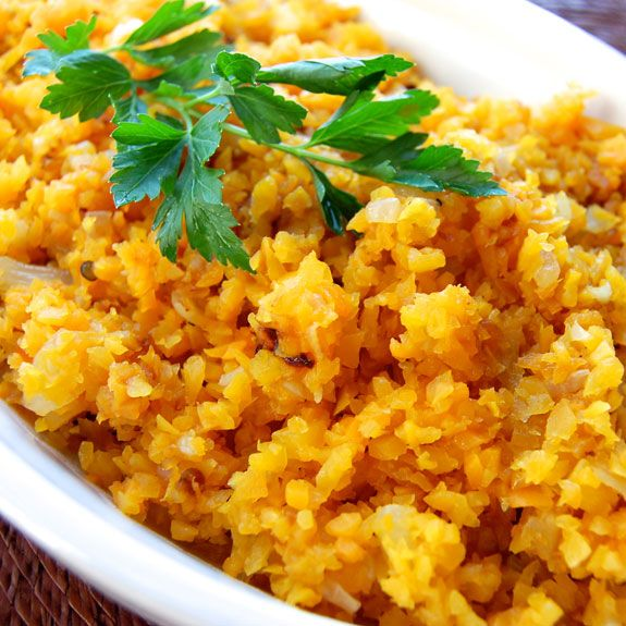 """Butternut Squash """"Risotto"""". Uses butternut squash as a substitute for rice."""