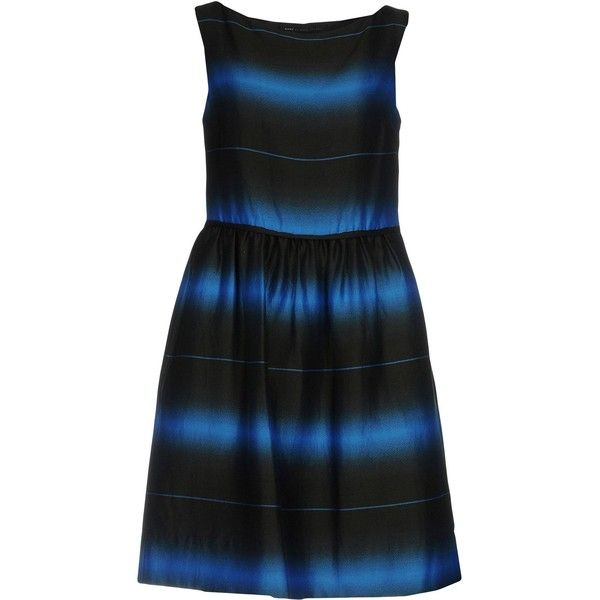 Marc By Marc Jacobs Short Dress (20.775 RUB) ❤ liked on Polyvore featuring dresses, steel grey, sleeveless short dress, marc by marc jacobs dress, sleeveless swing dress, no sleeve dress and tent dress