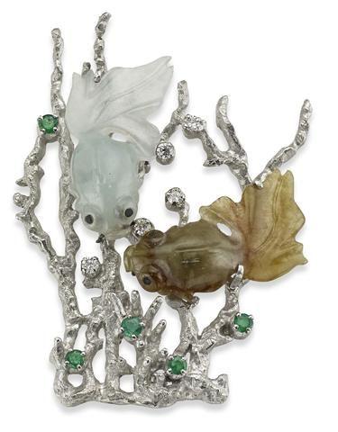 A jadeite, emerald and diamond brooch