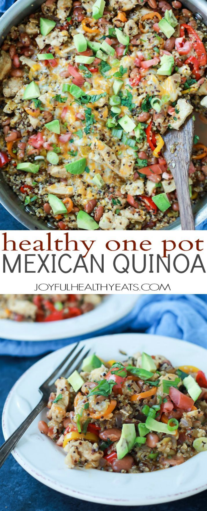 Healthy One Pot Mexican Quinoa Casserole - light, easy to make, packed with nutrients and flavor, and only 290 calories a serving! Everything is made all in the same pan, you'll love how easy this recipe is!   joyfulhealthyeats.com #glutenfree