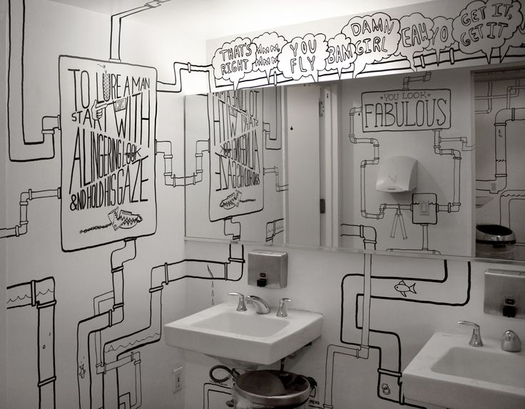 ADC bathroom so cool!! (creative, idea, inspiration, do it yourself, diy, plumbing, drawing, outline, wall art, funny, interesting, toilet, sink)