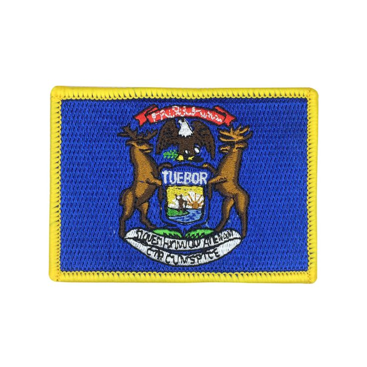 State of Michigan Flag Patch US Embroidered Patch Gold Border Iron On patch Sew on Patch badge Patch meet you on www.Fleckenworld.com