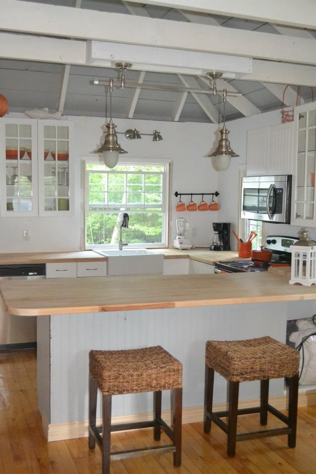 Fancy Our Beach House Kitchen some salvaged lower cupboards with Ikea Cutting board counters