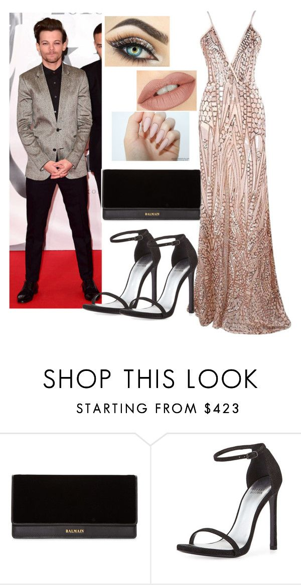 """Awards with Louis Tomlinson"" by natalia-tommo ❤ liked on Polyvore featuring Balmain and Stuart Weitzman"