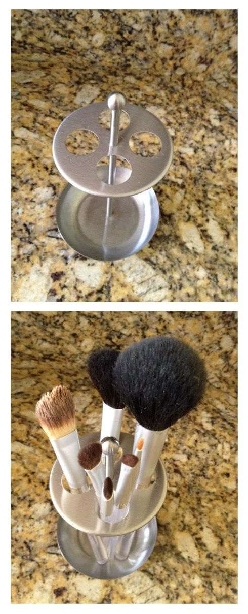 Using a toothbrush holder to organize your make up brushes!