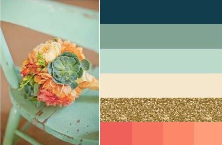 Navy, mint, aqua, gold, coral wedding color scheme