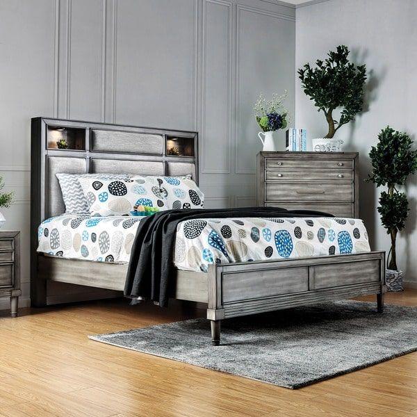 Furniture of America Corinate Transitional Bookcase Headboard Grey Bed