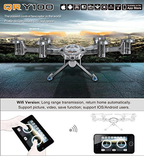 Walkera QR Y100 5.8Ghz 6-Axis FPV Wifi RC Quadcopter Aviones Hexcopter UFO Cámara HD iOS Android Phone Control No transmisor
