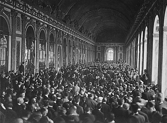 The Interior of the Palace des Glaces during the signing of the Peace          Terms. Versailles, France. June 1919