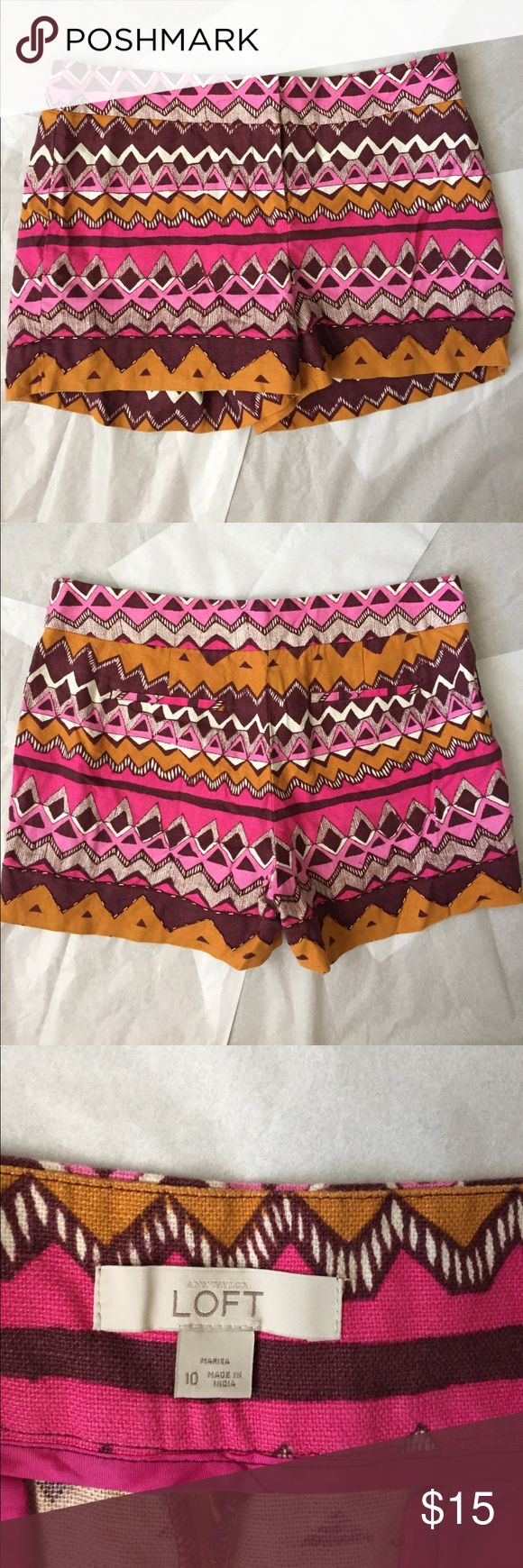 Loft Shorts! Ann Taylor Loft shorts! So fun with aztec print and beading at the bottom! Linen like material! Cotton and polyester! Good used condition! a few missing beads in the crouch area that no one see. Pricing accordingly! Still in overall great condition! Inseam 3.5 inches. LOFT Shorts