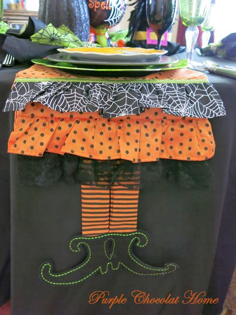 Cute Halloween table runner @ Purple Chocolat Home: Drop By For A Spell Table