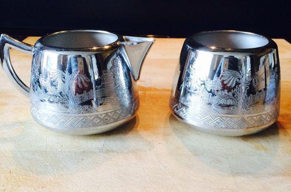 Swan brand Willoware Sugar Bowl and Milk Jug (free shipping)