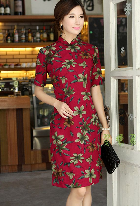 Retro Linen Chinese Dress Red color with by RockRollRefresh.com