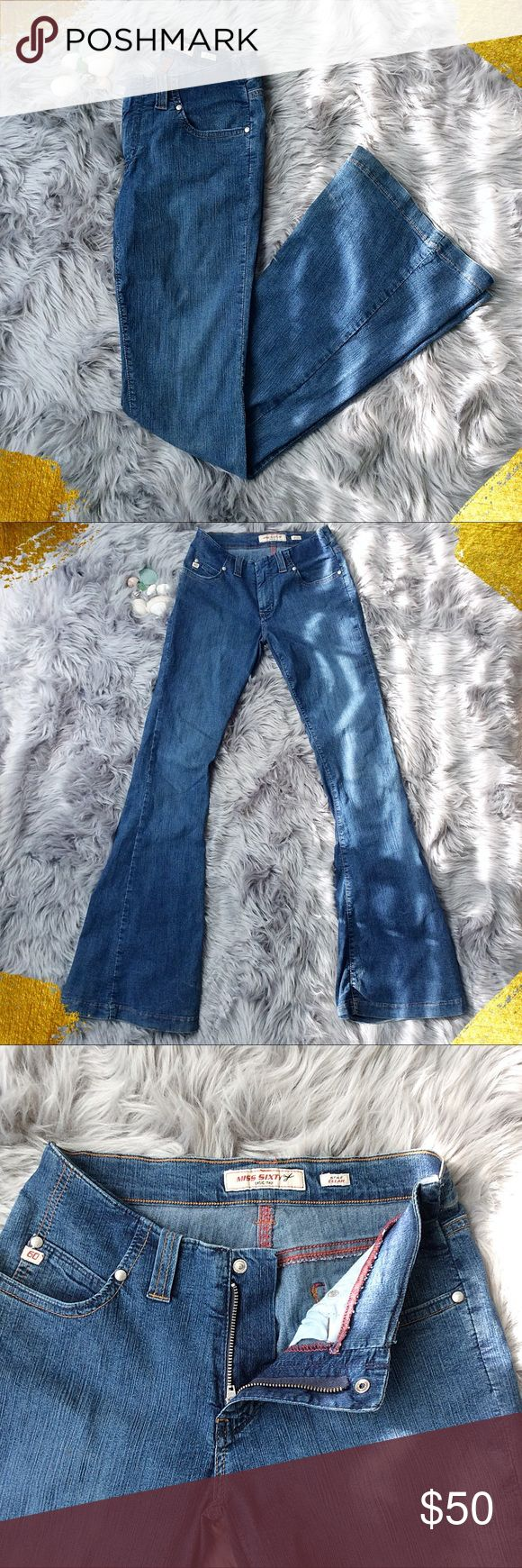 Miss Sixty Vintage Super Flare Jeans Miss Sixty Vintage Super Flare Bell Bottoms jeans!  Looks amazing with platform!!  Sizing tag is missing but measurements are included in the photos.  The fabric has a lot of stretch to it!  In fantastic condition! Miss Sixty Jeans