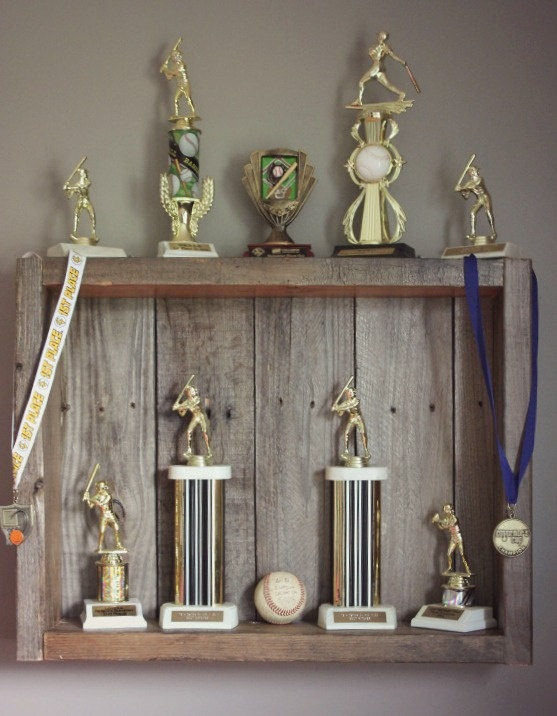 Pallet wood trophy case @Monty Coleman